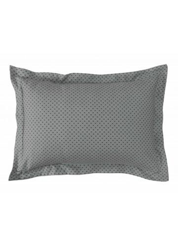 Lot de 2 Taies d'oreiller Imprimé Géométrique - Gris Perle - 50x70cm