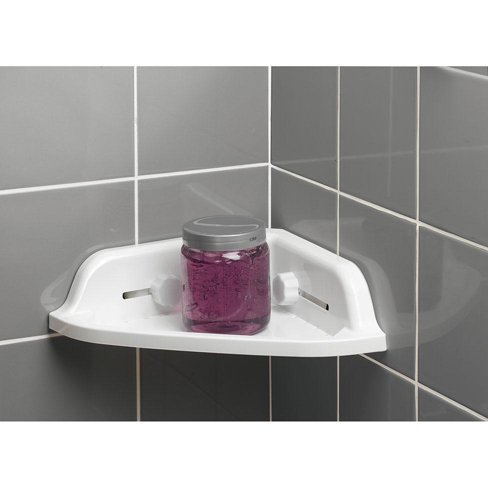 Etag re de douche d angle ventouses blanc homebain vente en ligne accessoires salle de bain - Etagere d angle douche ...