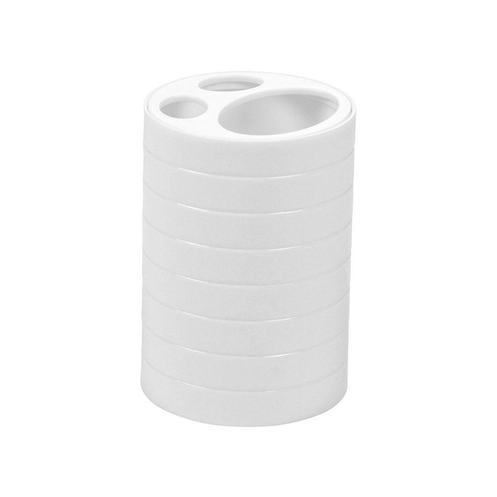 Gobelet brosse dent en plastique stri blanc gris clair taupe anthracite homebain - Gobelet brosse a dent ...