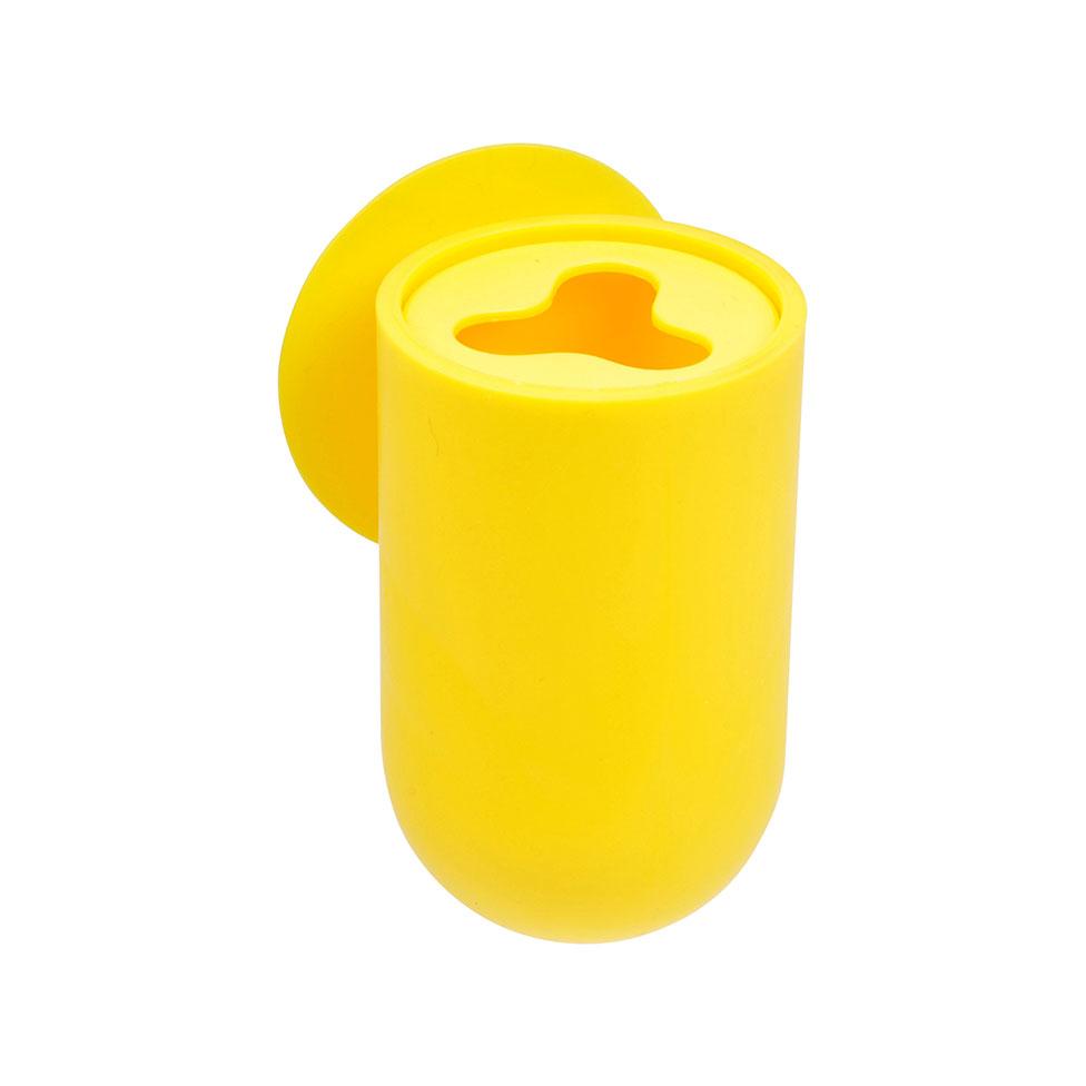Gobelet porte brosse dent ventouse jaune fuchsia - Porte brosse a dent ventouse ...