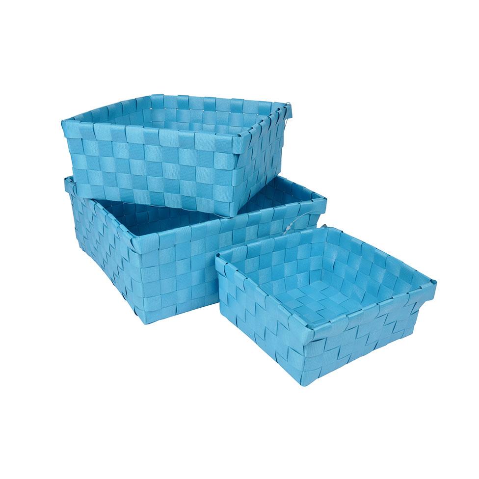 Set de 3 Paniers Tressés en Plastique (Bleu océan)