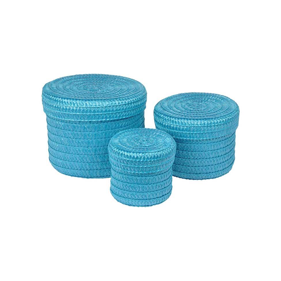 Set de 3 Boîtes Rondes en Plastique Tressé  (Bleu océan)