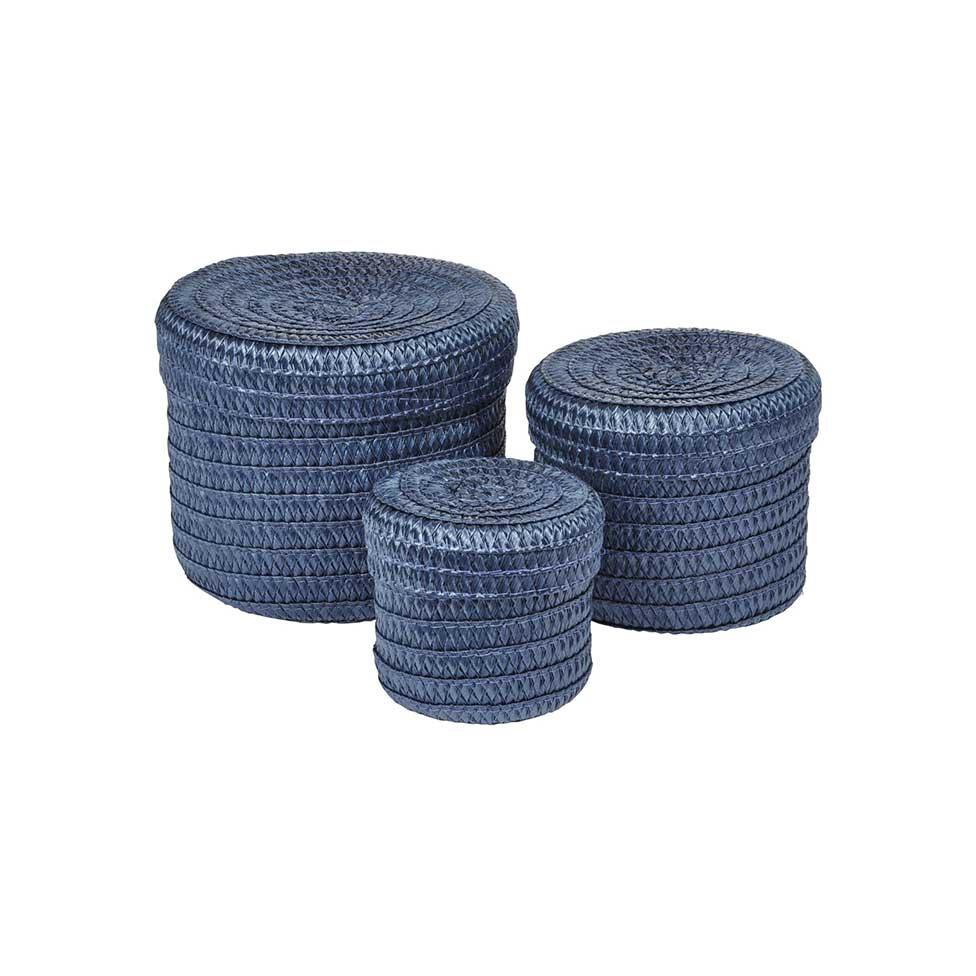 Set de 3 Boîtes Rondes en Plastique Tressé  (Indigo)