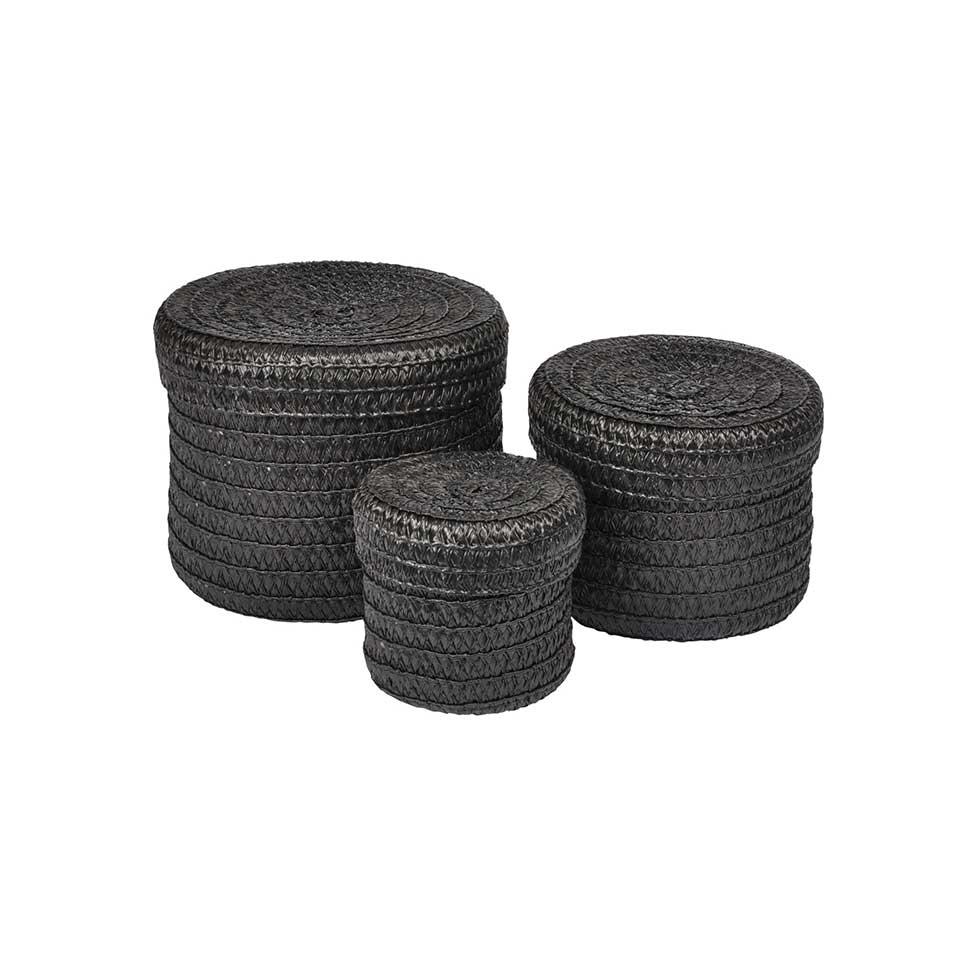 Set de 3 Boîtes Rondes en Plastique Tressé  (Noir)