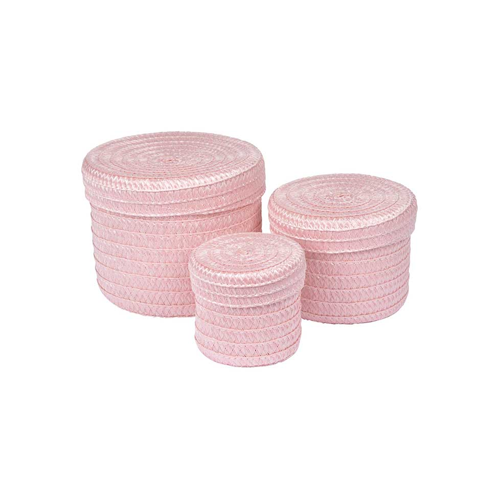 Set de 3 Boîtes Rondes en Plastique Tressé  (ROSE POUDRE)