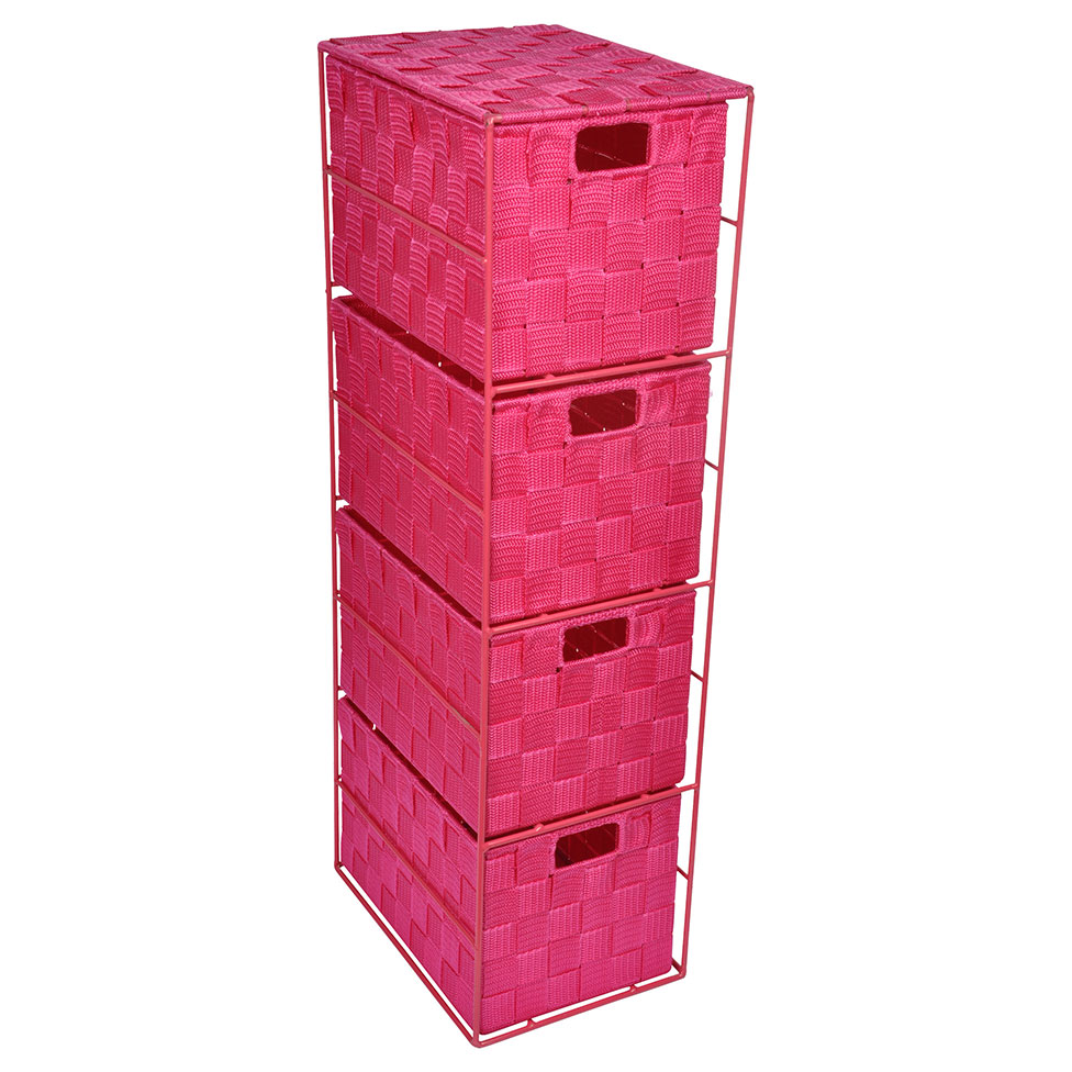 meuble en m tal avec 4 tiroirs tress fushia homebain. Black Bedroom Furniture Sets. Home Design Ideas