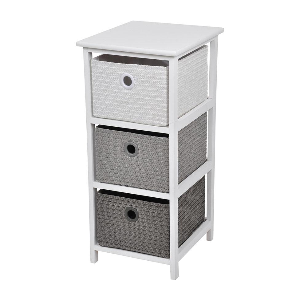 meuble en bois avec 3 tiroirs en papier tress fuchsia vert anis bleu anthracite. Black Bedroom Furniture Sets. Home Design Ideas