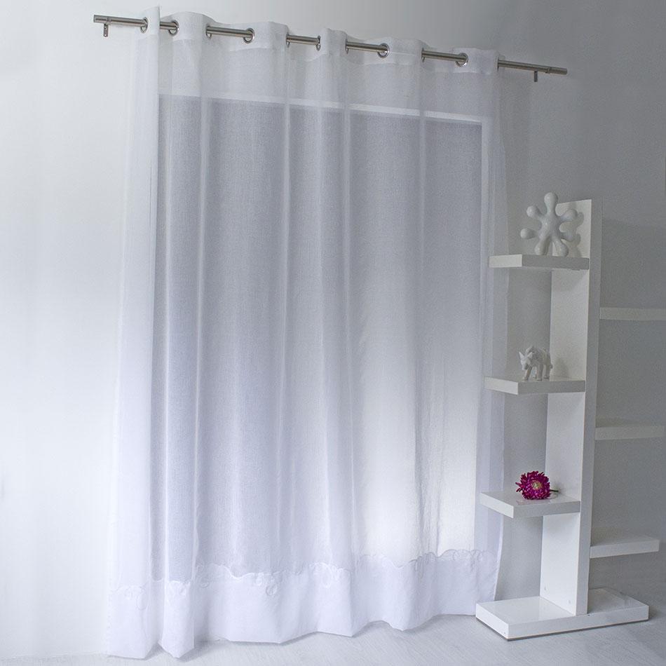 Voilage Uni Brodé Cornely (Blanc)