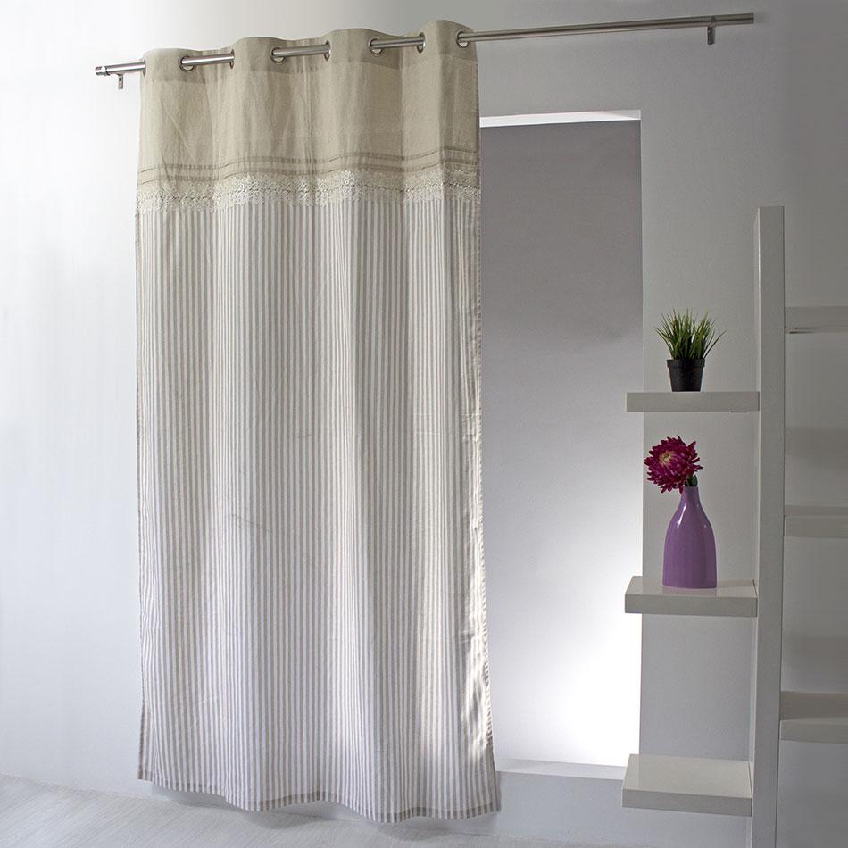 Rideau esprit romantique beige gris homemaison vente en ligne rideaux - Rideau dentelle romantique ...