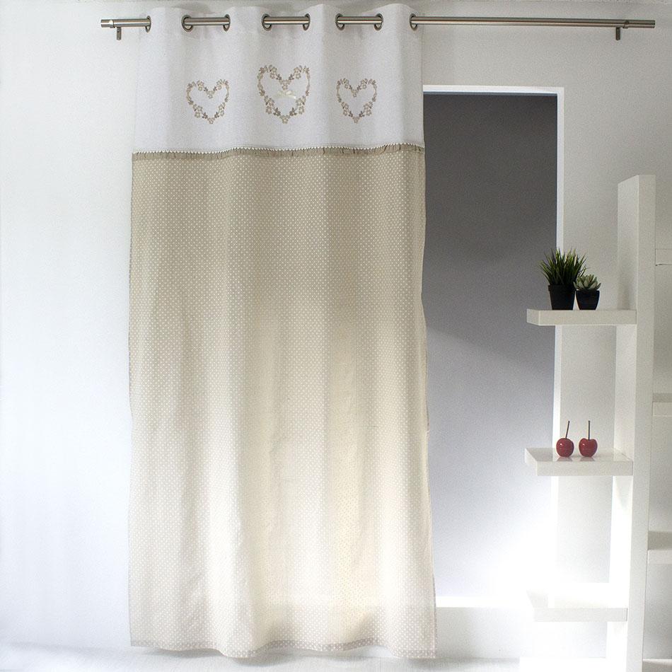rideau esprit dentelle beige gris homemaison vente en ligne rideaux. Black Bedroom Furniture Sets. Home Design Ideas
