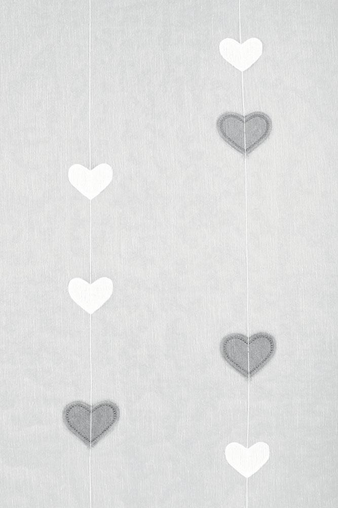 Paire de Vitrages Droits Motifs Double Coeurs - Gris - 70 x 140 cm