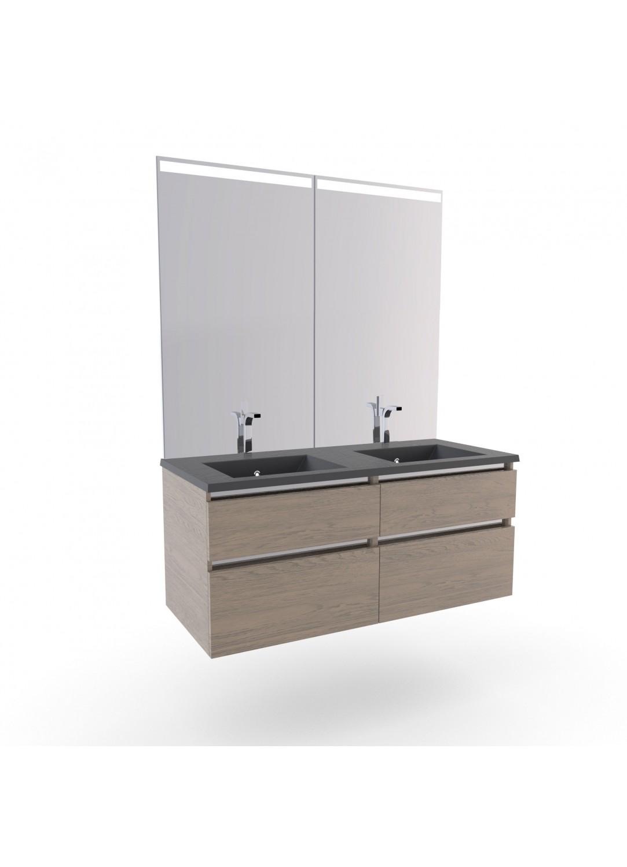 vasque et meuble Meuble Salle de Bain Col Chêne Double Vasques Stone (CHÊNE)