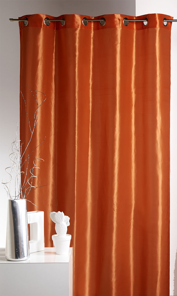 Rideau Aspect Satin Orange Safran Prune Homemaison Vente