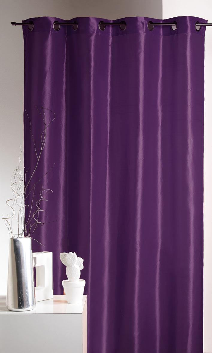 rideau ameublement en taffetas uni de couleurs prune rouge mandarine homemaison. Black Bedroom Furniture Sets. Home Design Ideas