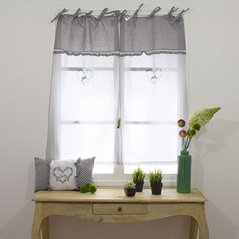 paire de vitrages droits esprit dentelle gris beige homemaison vente en ligne petits. Black Bedroom Furniture Sets. Home Design Ideas