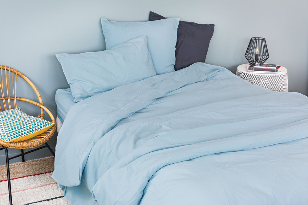 Housse de Couette Unie en Coton Lavé (Bleu)