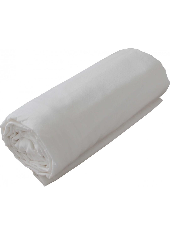 Drap Housse en Coton Lavé (Blanc)