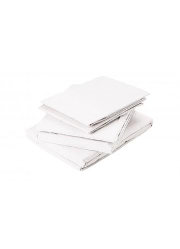 Drap Plat en Coton Lavé - Blanc - 180 x 290 cm