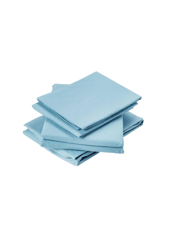 Drap Plat en Coton Lavé (Bleu)