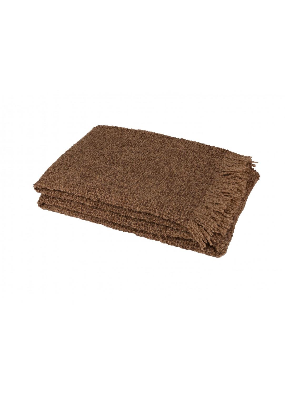 Plaid en Alpaga et Soie Effet Tweed (Caramel)