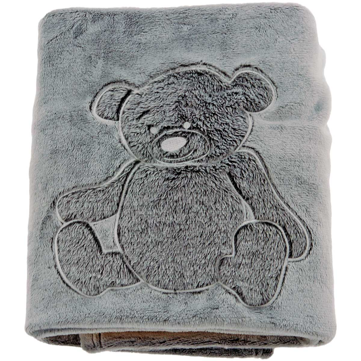 couverture polaire brod e ourson anthracite homemaison vente en ligne couvertures et plaids. Black Bedroom Furniture Sets. Home Design Ideas