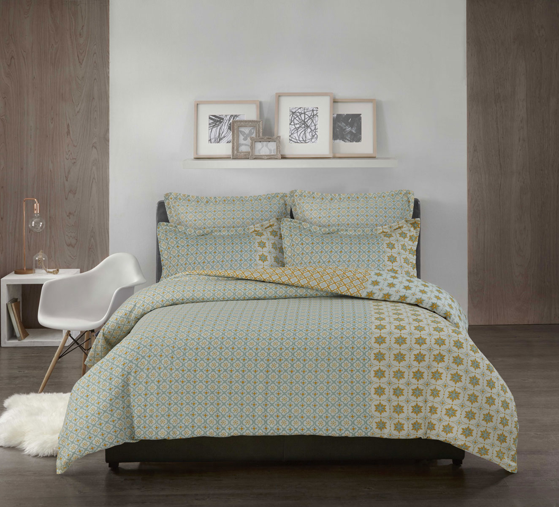 housse de couette imprim e fa on carrelage c ladon ficelle homemaison vente en ligne. Black Bedroom Furniture Sets. Home Design Ideas
