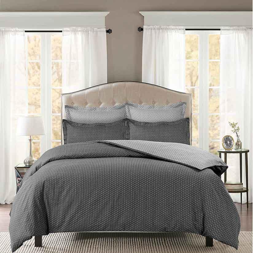 housse de couette imprim g om trique fleurs anthracite aqua homemaison vente en. Black Bedroom Furniture Sets. Home Design Ideas