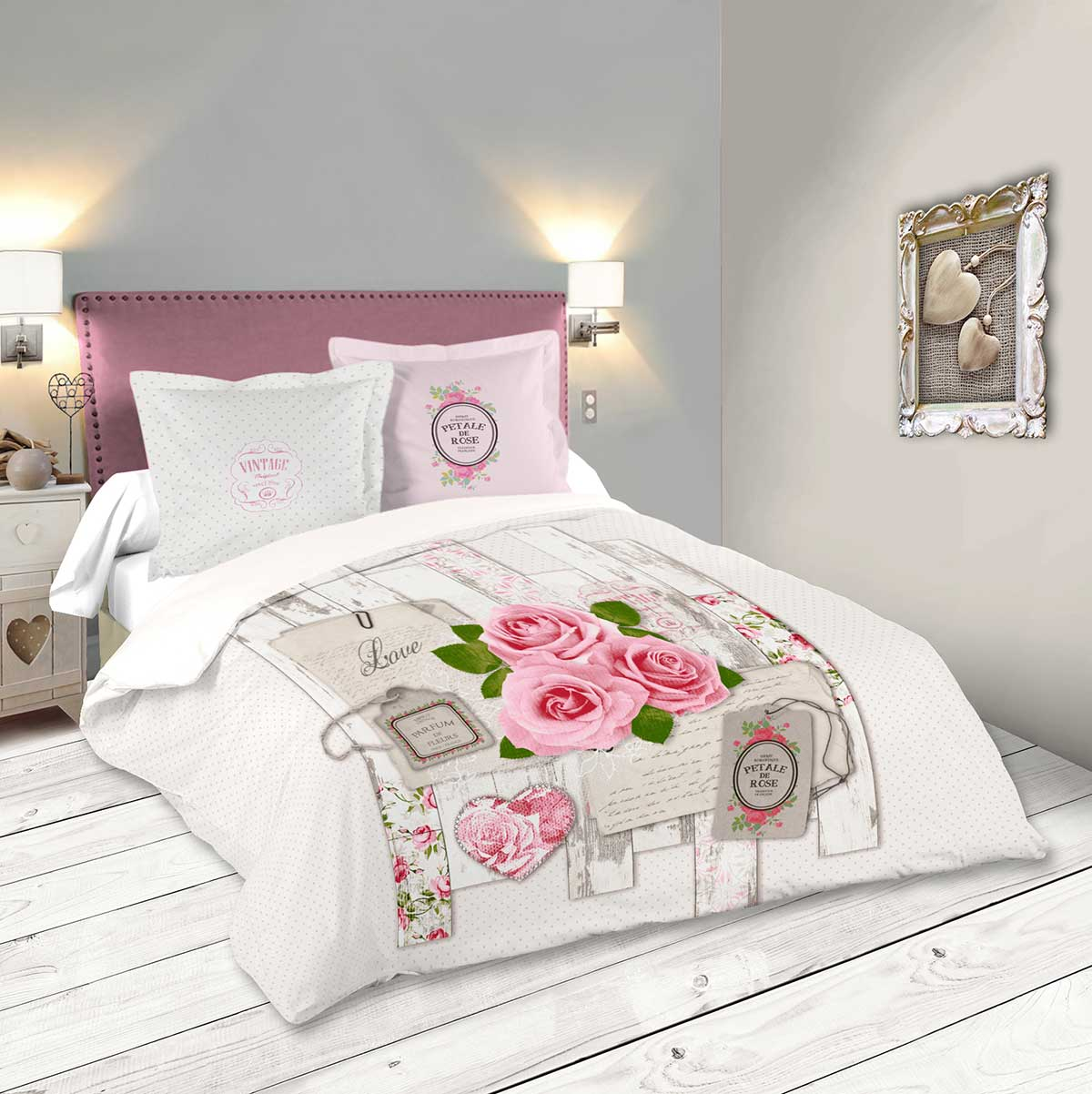 parure de lit romance de roses rose homemaison vente en ligne parures de lit. Black Bedroom Furniture Sets. Home Design Ideas