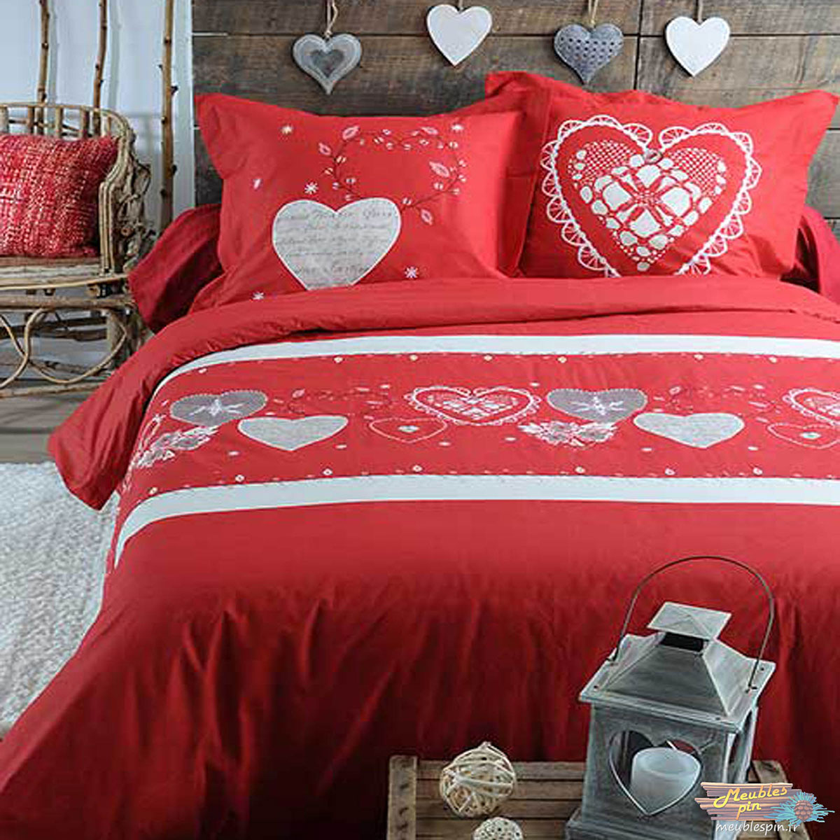 parure de lit montagnarde et romantique rouge homemaison vente en ligne parures de lit. Black Bedroom Furniture Sets. Home Design Ideas