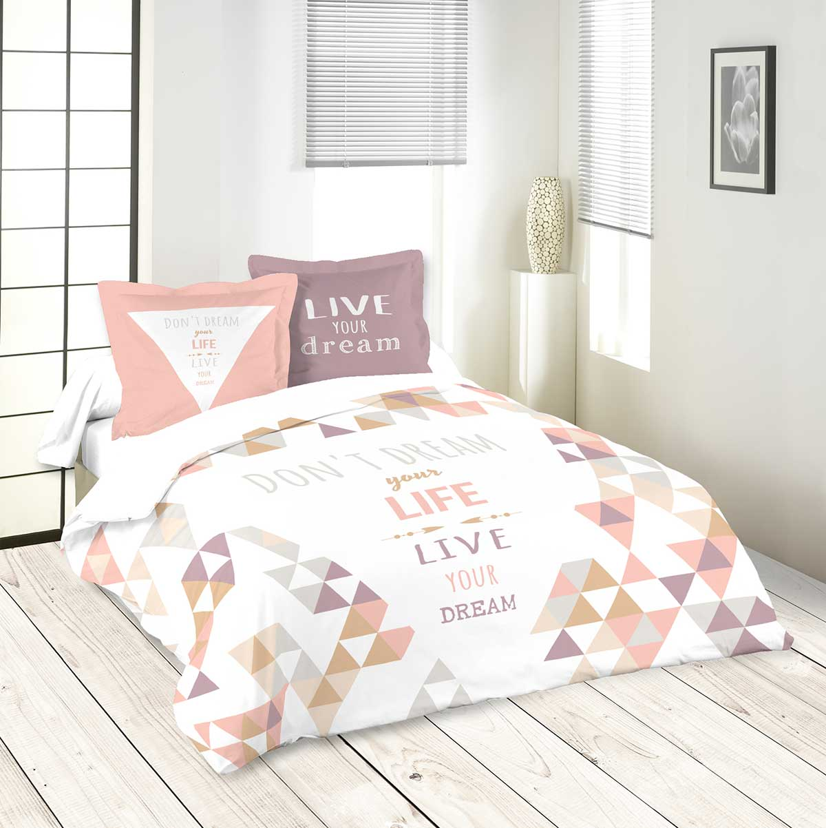 parure de lit message et formes g om triques ecru. Black Bedroom Furniture Sets. Home Design Ideas