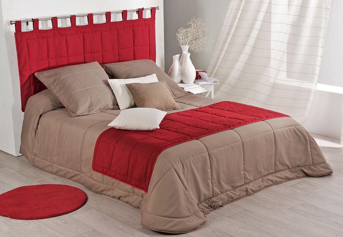 chemin de lit uni et matelass bordeaux taupe gris naturel homemaison vente en. Black Bedroom Furniture Sets. Home Design Ideas