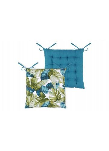 Galette de Chaise Imprimée Feuillages Multicolores - Bleu/Vert - 40 x 40 cm
