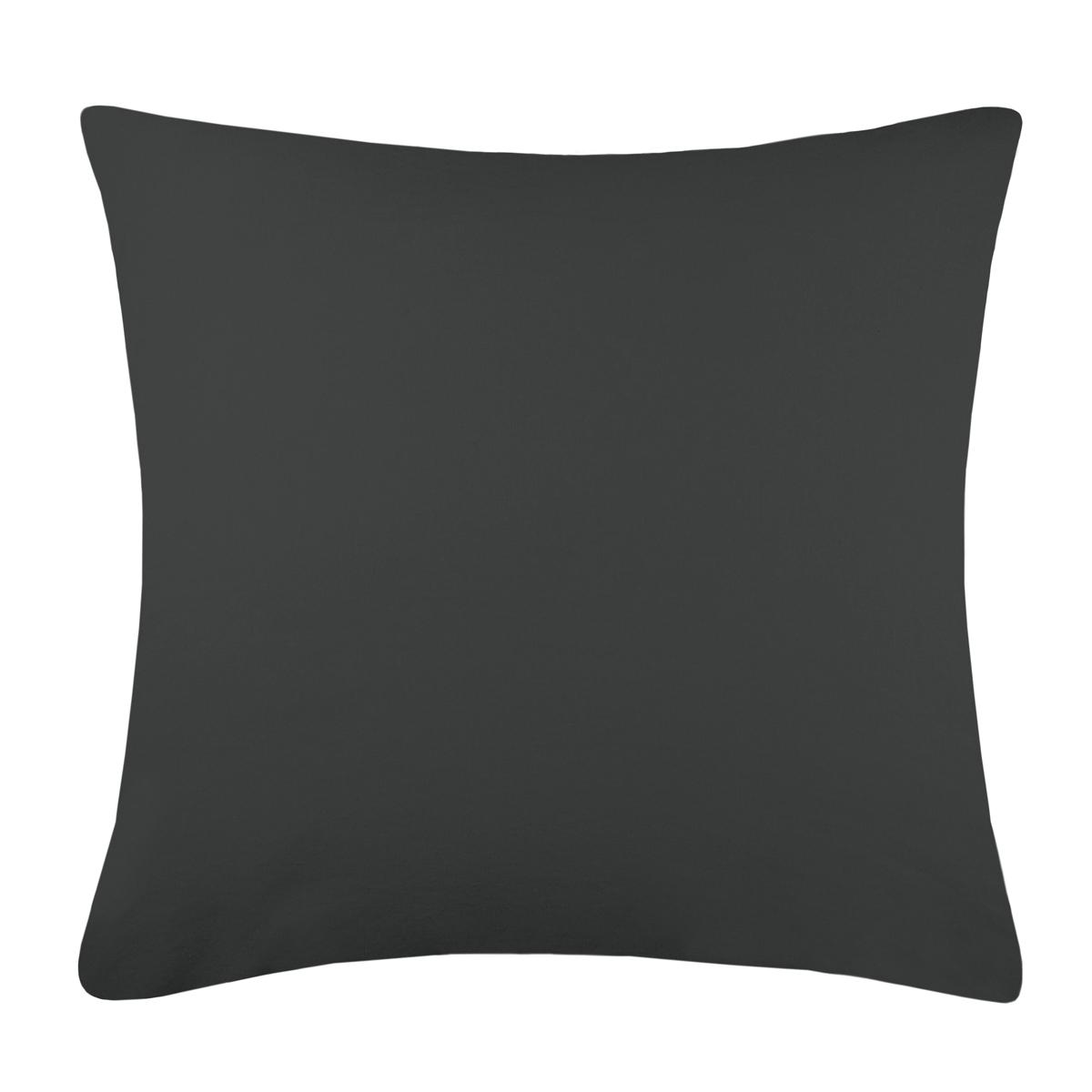 Taie d'oreiller unie en 100% coton lavé (Anthracite)