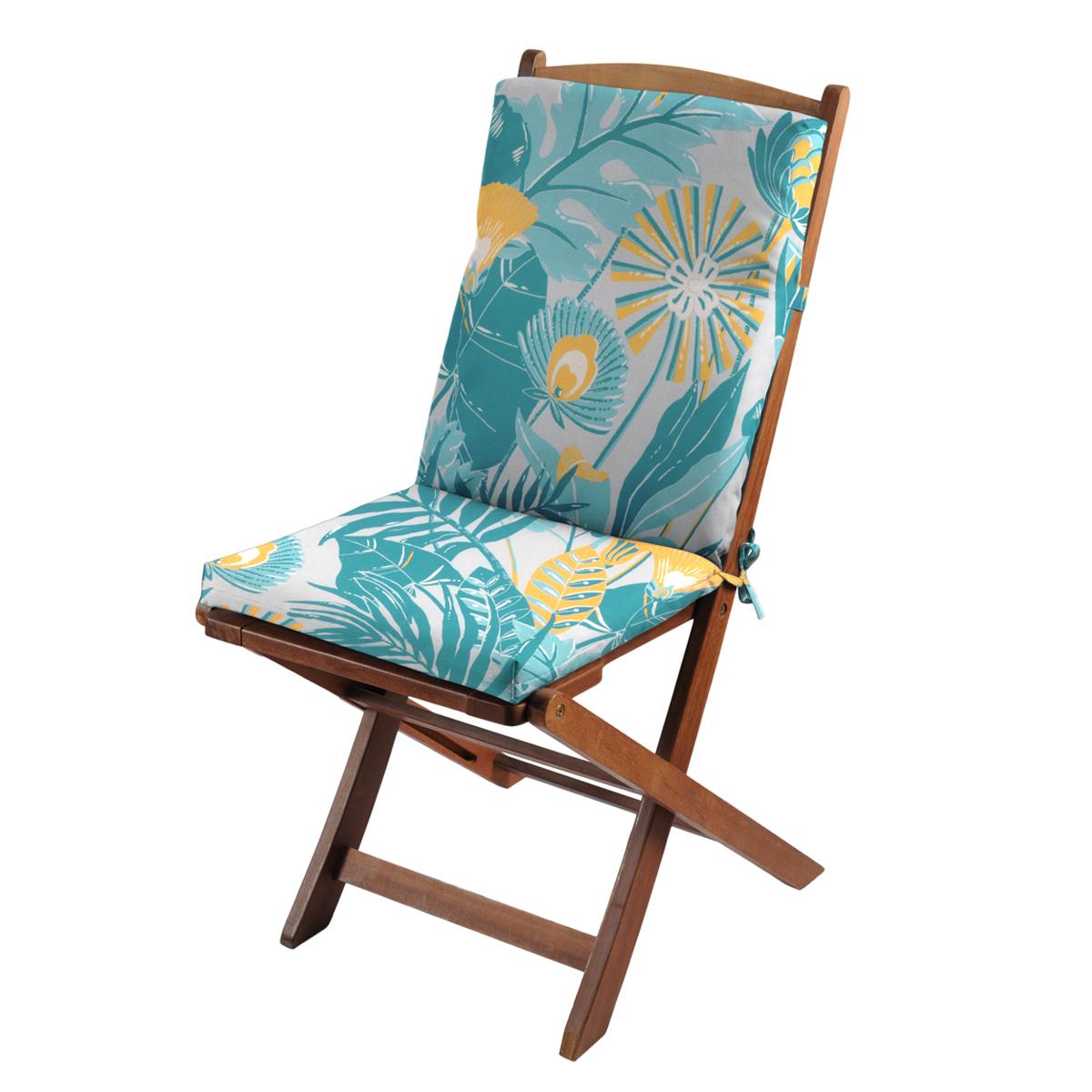 Coussin de fauteuil outdoor aux mille fleurs - Canard - 40 x 90 cm
