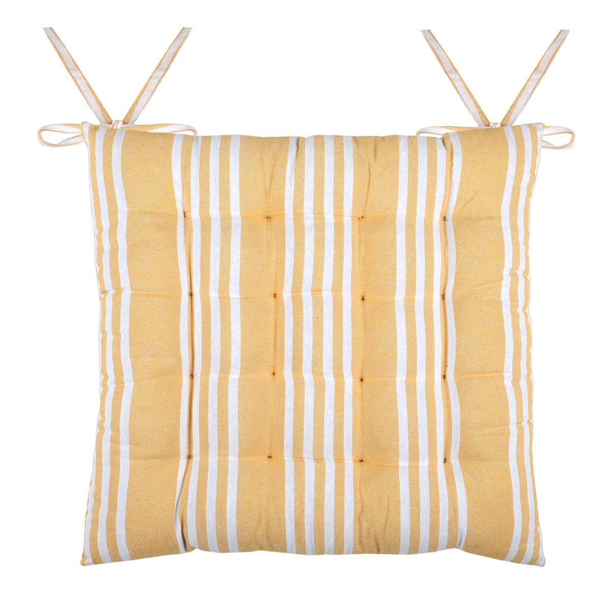 Galette de chaise Mandelieu rayée et matelassée - Jaune - 40 x 40 cm