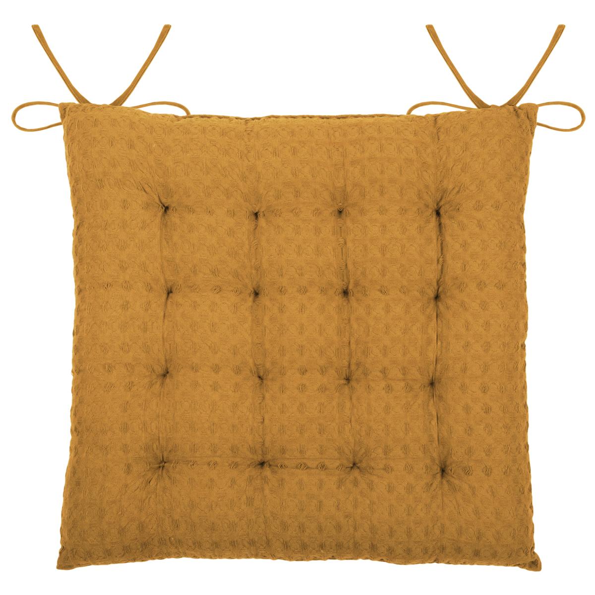 Galette de chaise matelassée en nid d'abeille (curry)