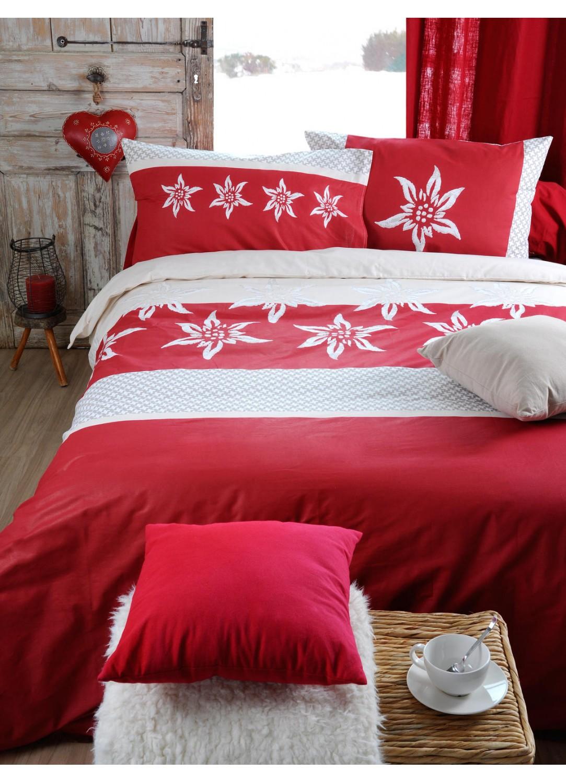 parure de lit imprim e fleur d anis rouge homemaison vente en ligne parures de lit. Black Bedroom Furniture Sets. Home Design Ideas
