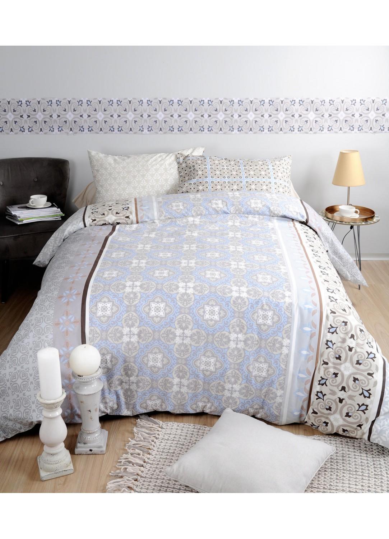 parure de lit imprim e carreaux gris homemaison vente en ligne parures de lit. Black Bedroom Furniture Sets. Home Design Ideas