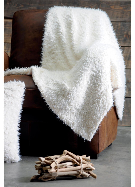 plaid avec effet poil de mouton blanc homemaison vente en ligne plaid imitation fourrure. Black Bedroom Furniture Sets. Home Design Ideas