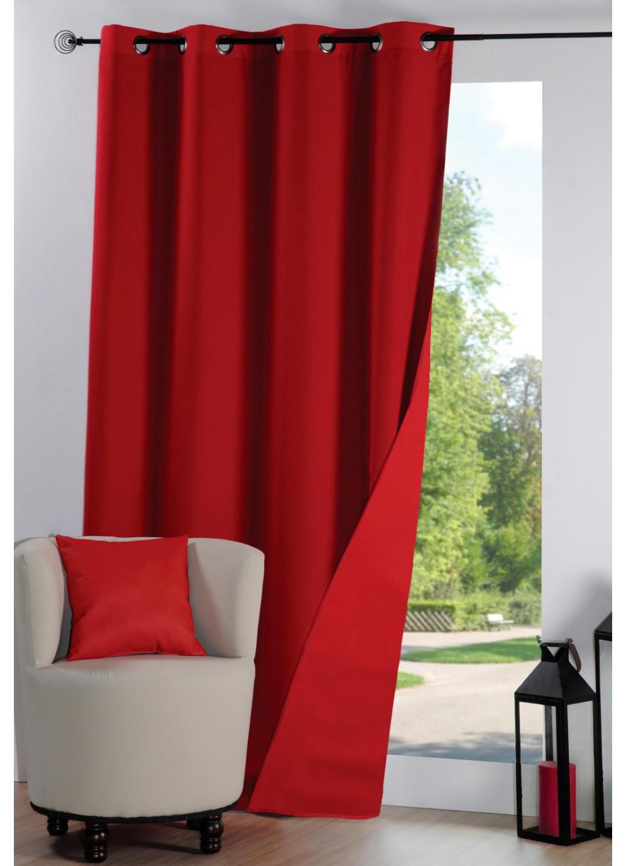 rideau isolant uni rouge homemaison vente en ligne rideaux phoniques thermiques. Black Bedroom Furniture Sets. Home Design Ideas