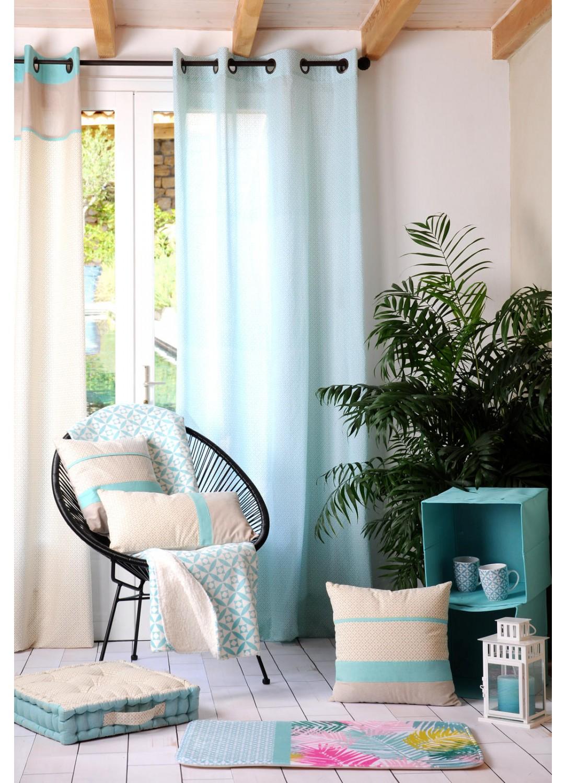 voilage imprim g om trique bleu homemaison vente. Black Bedroom Furniture Sets. Home Design Ideas