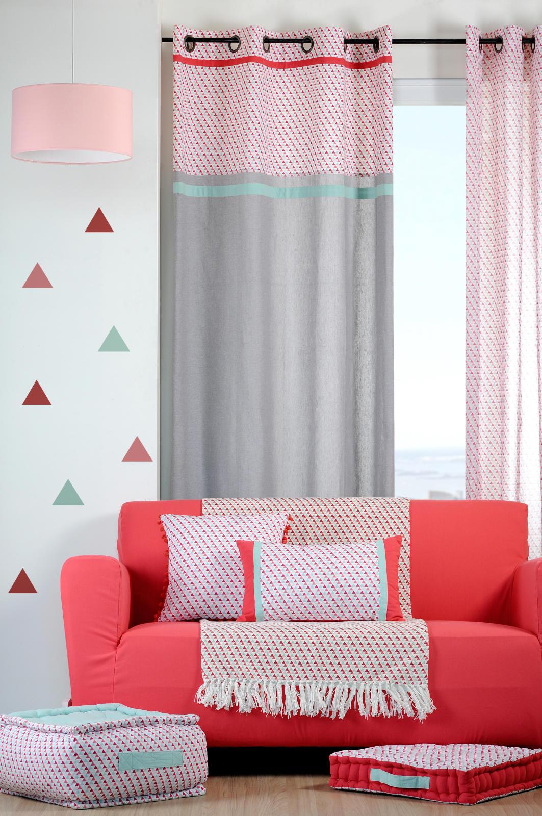 Rideau avec Imprimé Géométrique Triangles (Rouge)