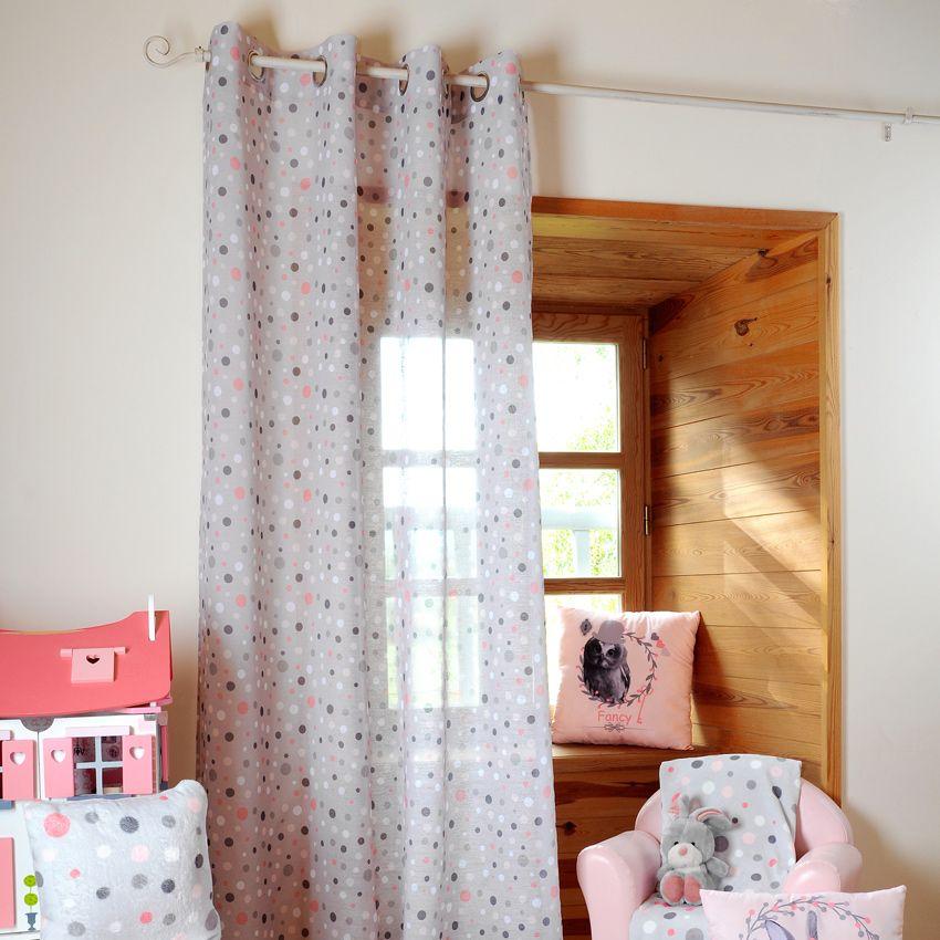 voilage imprim pois gris homemaison vente en ligne. Black Bedroom Furniture Sets. Home Design Ideas