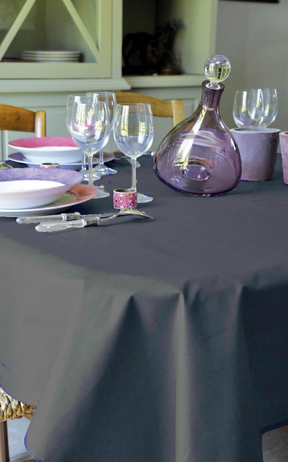 nappe enduite teintes de gris anthracite lin homemaison vente en ligne nappes. Black Bedroom Furniture Sets. Home Design Ideas