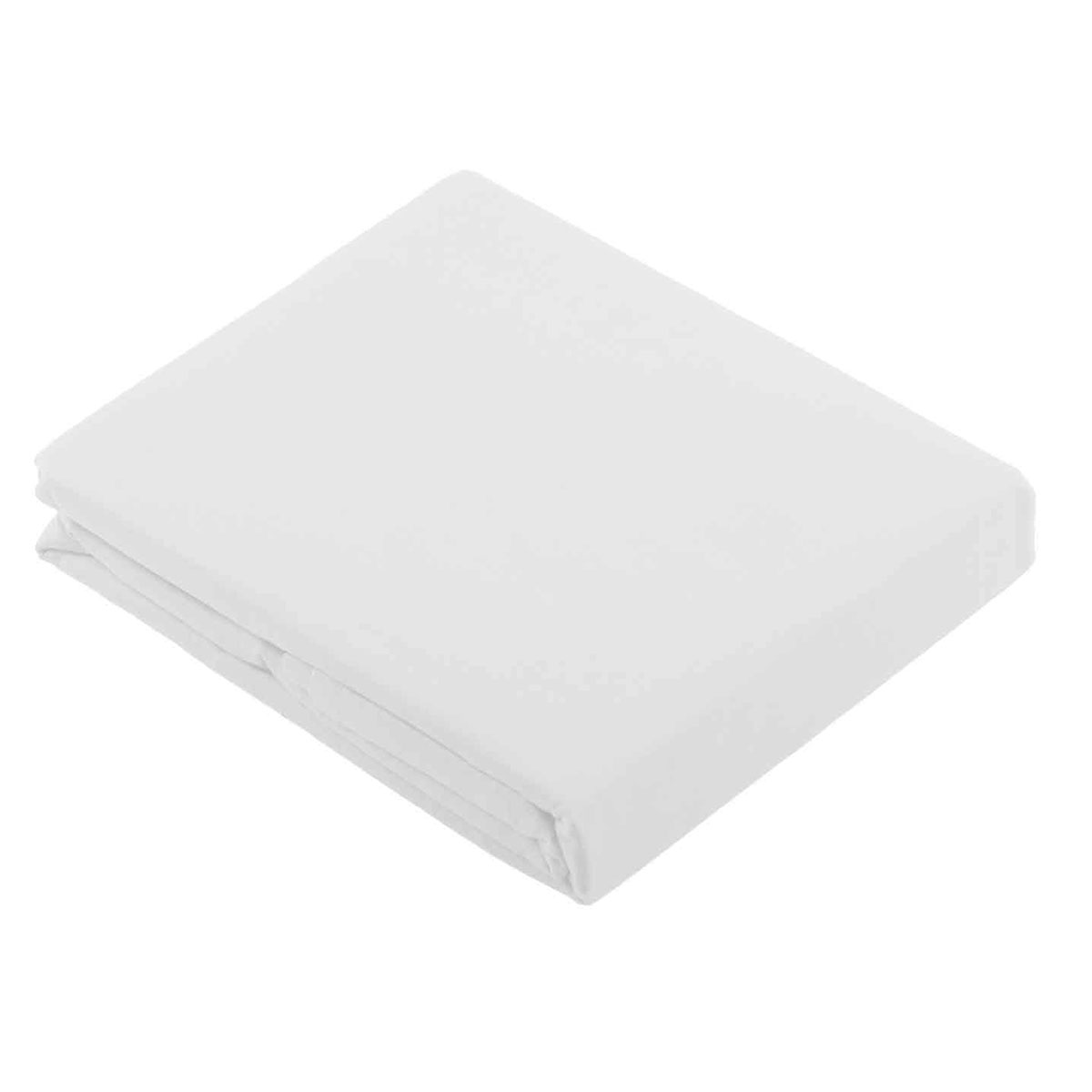 Drap Plat uni en Coton (Blanc)