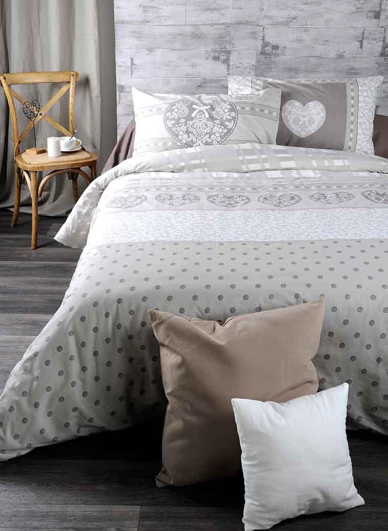 parure de couette imprim e romantique beige rouge homemaison vente en ligne parures de lit. Black Bedroom Furniture Sets. Home Design Ideas