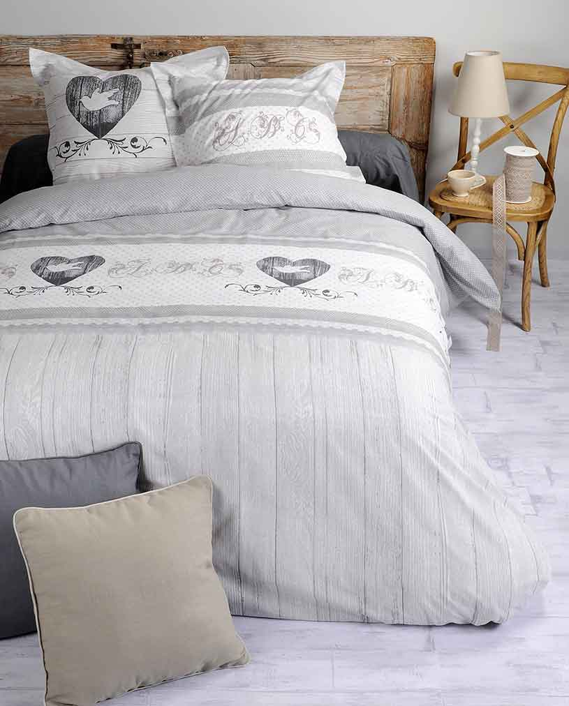 parure de couette romantique gris homemaison vente. Black Bedroom Furniture Sets. Home Design Ideas