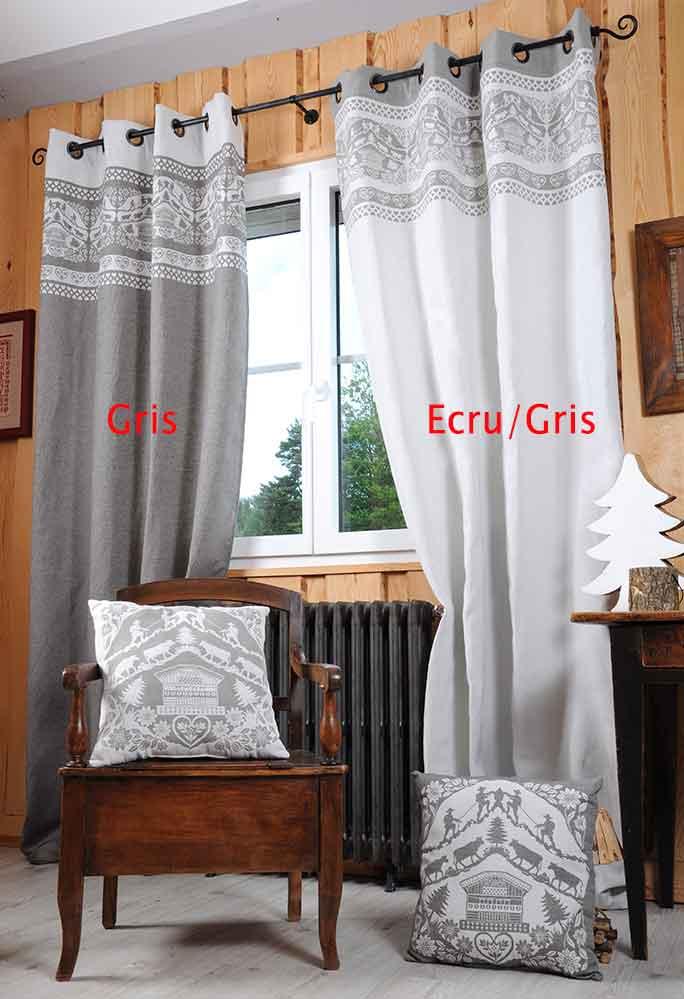 rideau esprit chalet gris ecru rouge rouge homemaison vente en ligne tous les rideaux. Black Bedroom Furniture Sets. Home Design Ideas