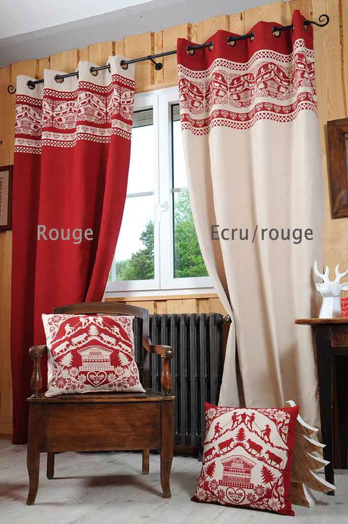 rideau esprit chalet rouge ecru rouge gris. Black Bedroom Furniture Sets. Home Design Ideas