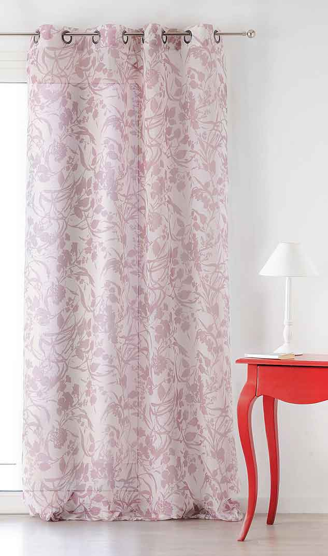 voilage imprim fleurs de canop e rose vert pomme. Black Bedroom Furniture Sets. Home Design Ideas